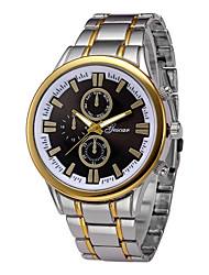 Недорогие -Муж. Наручные часы Китайский Секундомер / Повседневные часы Нержавеющая сталь Группа Кольцеобразный / минималист Серебристый металл / Золотистый