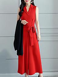 abordables -Mujer Chic de Calle / Sofisticado Conjunto - Un Color Pantalón