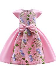 Недорогие -Дети Девочки Тропический лист Цветочный принт С короткими рукавами Платье