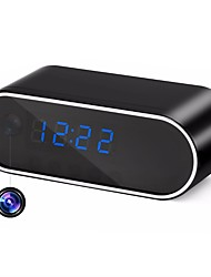abordables -HQCAM H.264 WiFi Table Clock Mini Camera 720P HD P2P DVR Camcorder Alarm Set Night Vision Motion Sensor Remote Monitor Micro 32G Card 2200mA Batteries 1/4 Pulgada CMOS Cámara simulada N / C