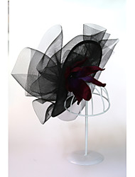 cheap -Flax / Tweed / Feathers Flowers / Headwear / Headdress with Feather / Cap / Lace Side 1pc Wedding / Special Occasion Headpiece