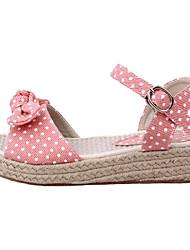 cheap -Women's Shoes Cotton Summer Comfort / Basic Pump Sandals Wedge Heel Pink / Light Blue
