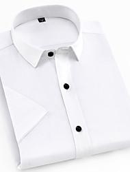 cheap -Men's Work Shirt - Solid Colored Standing Collar / Short Sleeve