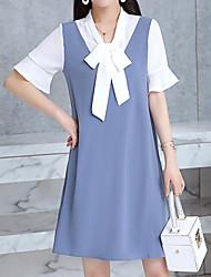 cheap -Women's Street chic Flare Sleeve Chiffon Dress - Color Block Blue & White, Ruffle