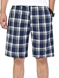 abordables -Hombre Algodón Corte Ancho Shorts Pantalones - A Cuadros