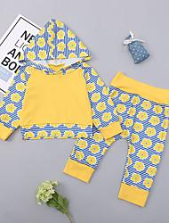abordables -bébé Fille Actif / Basique Quotidien / Sortie Imprimé Imprimé Manches Longues Longue Longue Coton / Spandex Ensemble de Vêtements Jaune