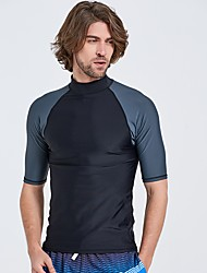cheap -Men's Diving Rash Guard Anatomic Design, Moisture Permeability, Sweat-wicking Spandex Short Sleeve Swimwear Beach Wear Top Solid Colored Surfing / Windsurfing / Wakeskating