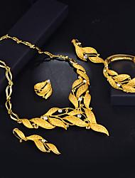 billiga -Dam Lager-på-lager Smyckeset - 18K Guldpläterad Etnisk Omfatta Armringar / Dropp Örhängen / Hänge Halsband Guld Till Förlovning / Valentine / Ring