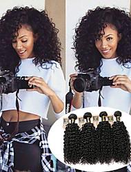 economico -4 pacchi Peruviano Kinky Curly Cappelli veri Ciocche a onde capelli veri / Bundle di capelli / Extension di capelli umani 8-28 pollice Colore Naturale Tessiture capelli umani Estensione / Migliore