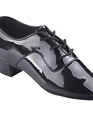 cheap -Boys' Latin Shoes Patent Leather Heel Thick Heel Dance Shoes Black