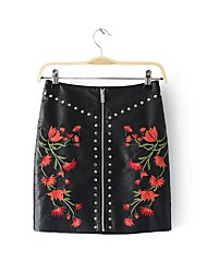cheap -Women's Holiday Faux Leather Bodycon Skirts - Floral / Slim