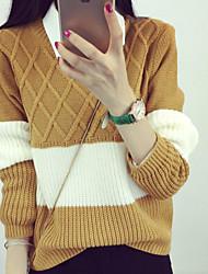 Недорогие -Жен. Длинный рукав Пуловер - Однотонный / Полоски / Контрастных цветов / Осень / Зима
