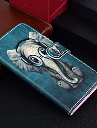Недорогие -Кейс для Назначение Apple iPhone X / iPhone 8 Pluss / iPhone 8 Кошелек / Бумажник для карт / со стендом Чехол Животное / Слон Твердый Кожа PU