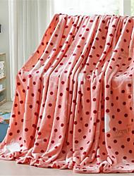 Недорогие -Коралловый флис, Пигментная печать Горошек Хлопок / полиэфир одеяла