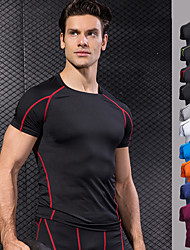 cheap -Men's Crew Neck Basic Compression Shirt - Black / Red, Green / Black, Burgundy Sports Stripe, Fashion Spandex Tee / T-shirt Running, Fitness, Gym Short Sleeve Activewear Quick Dry, Breathable, 4 Way