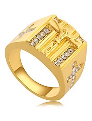 economico -Per uomo 3D Band Ring - Placcato in oro Croce, Creativo Originale, Vintage 8 / 9 Oro Per Quotidiano / Ufficio