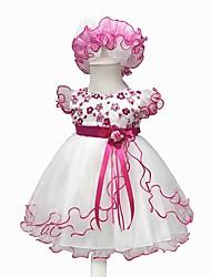 Недорогие -малыш Девочки Винтаж На выход Цветочный принт С короткими рукавами До колена Хлопок Платье