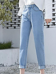 economico -Per donna Cotone Jeans Pantaloni - Tinta unita