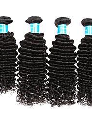 Недорогие -4 Связки Бразильские волосы / Перуанские волосы Крупные кудри Не подвергавшиеся окрашиванию Человека ткет Волосы / Плетение 8-30 дюймовый Ткет человеческих волос Машинное плетение