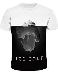 billige -Herre / Dame - Farveblok T-shirt Blå & Hvid