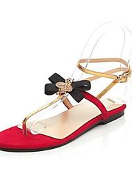 baratos -Mulheres Sapatos Camurça Verão Conforto Chinelos e flip-flops Sem Salto Dedo Aberto Preto / Vinho