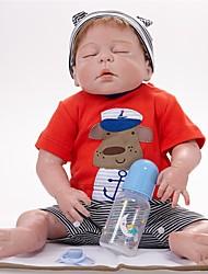 baratos -FeelWind Bonecas Reborn Bebês Meninos 22 polegada Silicone de corpo inteiro - realista Á Mão Segura Para Crianças Interação pai-filho Mohair Rooted à mão Cílios aplicados à mão de Criança Para