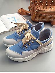 Недорогие -Жен. Обувь Полотно / Синтетика Весна лето Удобная обувь Кеды На плоской подошве Круглый носок Ленты Черный / Оранжевый / Светло-синий