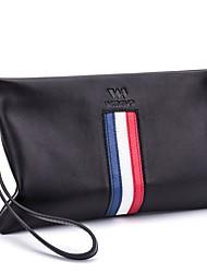 baratos -sacos masculinos couro de embreagem zíper vermelho / azul