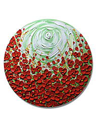 cheap -STYLEDECOR Modern Hand Painted Abstract Circular Frame White Green Swirl Red Flowers Oil Painting on Canvas