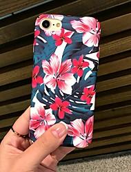 baratos -Capinha Para Apple iPhone X / iPhone 8 Áspero / Estampada Capa traseira Flor Rígida PC para iPhone X / iPhone 8 Plus / iPhone 8