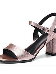Недорогие -Жен. Обувь Овчина Лето Удобная обувь / Туфли лодочки Сандалии На толстом каблуке Серый / Светло-коричневый