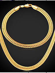 cheap -Men's Stylish Jewelry Set - Gold Plated Tire Fashion Include Vintage Necklace Gold For Daily / Evening Party