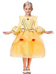billiga -Prinsessa Kostym Flickor Barn Halloween Halloween Karnival Barnens Dag Festival / högtid outfits Gul Enfärgad Halloween