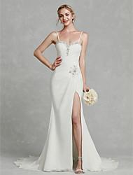 abordables -Funda / Columna Tirantes Spaghetti Corte Raso Vestidos de novia hechos a medida con Cuentas / Frontal Abierto por LAN TING BRIDE®