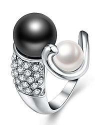 abordables -Femme Perle d'eau douce Incompatibilité Anneau ouvert - Plaqué or Mode réglable Blanc Pour Cadeau Quotidien