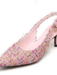 economico -Per donna Scarpe Sintetico Estate Comoda Sandali A stiletto Rosa / Tessuto almond