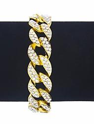 abordables -Bracelet Homme Zircon cubique Créatif Branché Rock Hyperbole Bracelet Bijoux Or Argent Forme de Cercle pour Carnaval Bar
