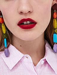 abordables -Femme Long Boucles d'oreille goutte - Pointe Asiatique, Branché, Coréen Bleu de minuit / Rouge / Vert Pour Quotidien / Soirée