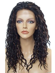 cheap -Synthetic Wig / Synthetic Lace Front Wig Wavy Layered Haircut Synthetic Hair Anime / Party / Synthetic Dark Brown Wig Women's Long Lace Front / Natural Hairline