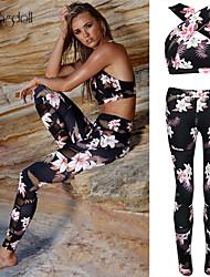 abordables -Mujer Frente cruzado de Criss Pantalones de yoga con parte superior - Negro Deportes Estampado Floral Licra Sujetadores de Deporte / Medias / Mallas Largas / Leggings Yoga, Fitness, Danza Ropa de