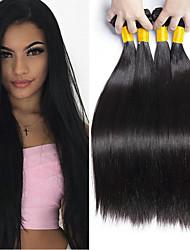 Недорогие -4 Связки Бразильские волосы Прямой Натуральные волосы Человека ткет Волосы Пучок волос One Pack Solution 8-28 дюймовый Нейтральный Естественный цвет Ткет человеческих волос / 8A