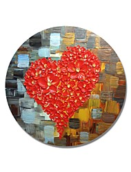 cheap -STYLEDECOR Modern Hand Painted Abstract Circular Frame Heart-Shaped Red Flowers Oil Painting on Canvas Wall