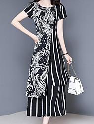 abordables -Mujer Chic de Calle / Sofisticado Conjunto - A Rayas / Floral / A Cuadros, Separado Pantalón