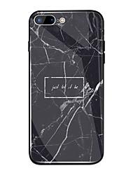Недорогие -Кейс для Назначение Apple iPhone X / iPhone 8 Plus Зеркальная поверхность / С узором Кейс на заднюю панель Слова / выражения / Мрамор Твердый ТПУ / Закаленное стекло для iPhone X / iPhone 8 Pluss