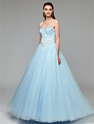 cheap -Princess Strapless Floor Length Tulle Formal Evening Dress with Beading by TS Couture®