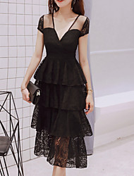 cheap -Women's Sophisticated Little Black Dress - Solid Colored Lace