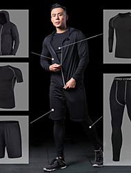 cheap -Men's Yoga Suit - Black, Gray, Rough Black Sports Jacket / Compression Clothing / Leggings Running, Fitness, Gym Activewear Quick Dry, Breathable High Elasticity