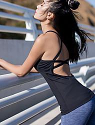 Недорогие -Жен. Вырез под горло Открытая спина На бретелях Йога Вверх Мода Бег Танцы Фитнес Безрукавка Спортивная одежда Дышащий Быстровысыхающий Впитывает пот и влагу Эластичность