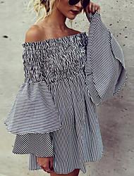 economico -Per donna Essenziale / Elegante Manica a sbuffo Chiffon Vestito - Lacci, A strisce Sopra il ginocchio