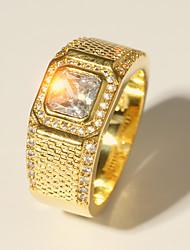 baratos -Homens Zircônia Cubica Camadas Anel de banda - Ouro Clássico, Vintage, Elegante 7 / 8 / 9 Dourado Para Casamento / Diário / Cerimônia
